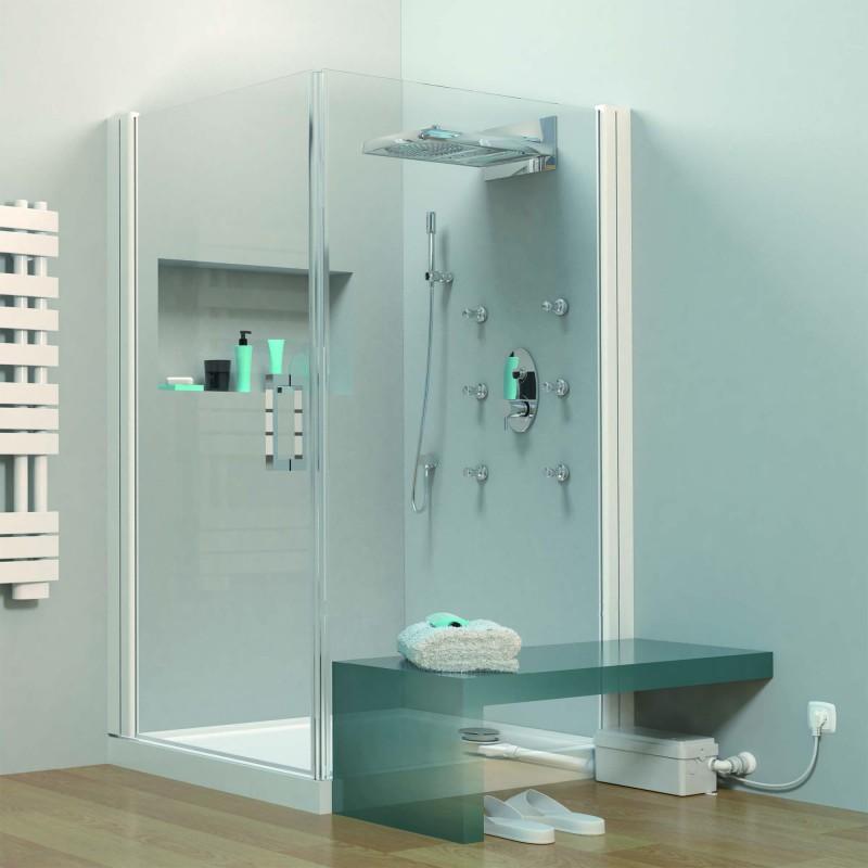 SFA sanibroyeur Sanidouche flat pompe de douche dans salle de bains