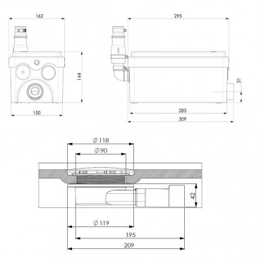 SFA sanibroyeur Sanidouche flat pompe de douche dimensions
